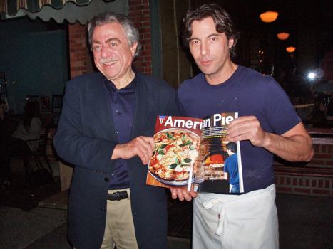GQ's Alan Richman poses with Lucali's hunky pizzaiola Mark Iacono. (Photo: Michael Anstendig)