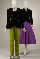 Elizabeth Arden (Antonio Castillo), day ensemble, green plaid wool, black silk velvet, ivory silk chiffon, circa 1946, USA, gift of Doris Duke.   Charles James, dinner ensemble, purple silk taffeta, black silk velvet, 1947, USA, gift of Beatrice Simpson. Photograph: MFIT